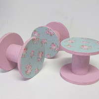 Shabby Floral Pink and Blue ~ Rustic Lace / Ribbon Wooden Spools