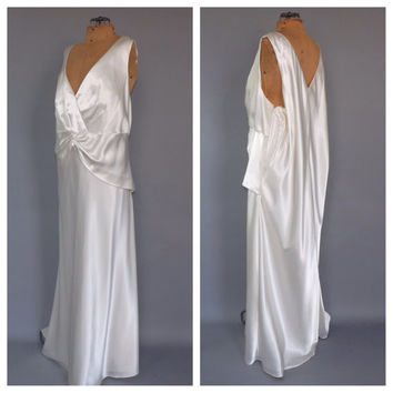 PLUS SIZE 24 Vintage 90s does 1930s Gown Art Deco Goddess Dress Old Hollywood Wedding Gown Long Prom Dress Bridal Mermaid Dress 1920s Gatsby