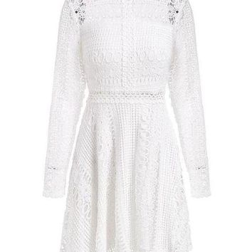 Lace Long Sleeve A-Line Dress - White