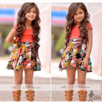 Girls Patterned Print Summer Dress