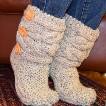 Soft Wool Cable Knit Slippers, Knit Cable Slipper Boots, Cable Slippers - Custom Order
