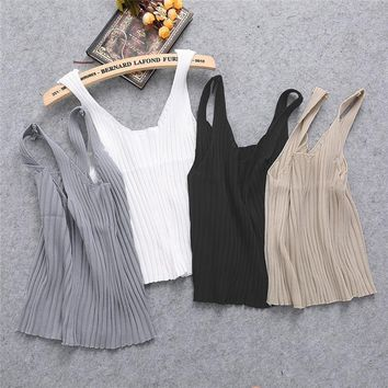2018 New Summer Style Sexy Women Bodycon Sling Knitted Camisole Square-cut Vest Slim Tank Tops