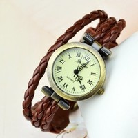 Fashion Retro Weave Wrap Bronze Around Leather Bracelet Woman Wrist Watch 4 Color Brown