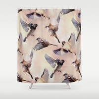 Sparrow Flight Shower Curtain by Micklyn