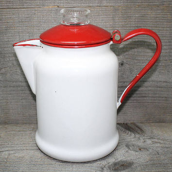 Enamelware Coffee Pot in White and Red with Glass Percolator Top Vintage