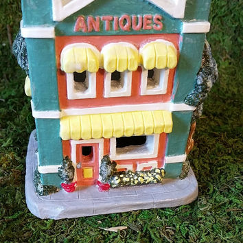 Hand Painted House, Antique Store, Christmas Village House, Ceramic House, Holiday Tea Light House, Collectible House, Vintage