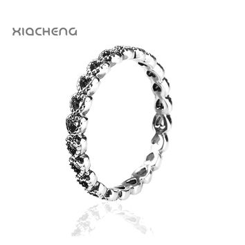 Authentic 925 Sterling Silver Wedding Rings Hollow Out Heart with Heart Women Ring Fit with pandora Jewelry