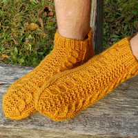 Men's Slipper Socks, Hand knit wool slippers,  Knitted wool slippers, Knitted Wool Socks, Knitted Wool Slippers, Unisex, Christmas Gift