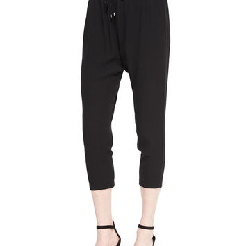Georgette Crepe Cropped Slouchy Pants,