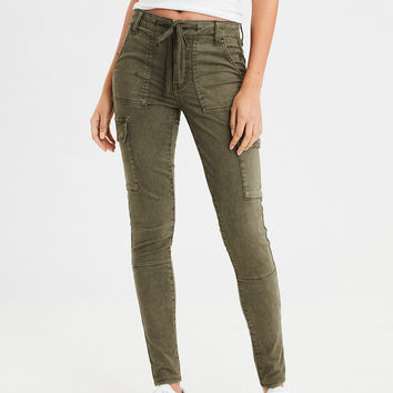 AE Sateen X High-Waisted Jegging, Washed Olive