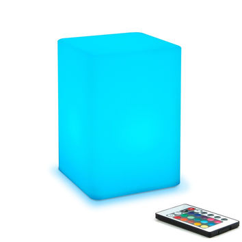 "Mr.Go 6-inch Dimmable LED Night Light Mood Lamp for Kids and Adults - 16 RGB Colors - 5 Level Dimming - 4 Lighting Effects - Rechargeable - Remote Control - Decorative - Fun and Safe - White Cube Cube 6""H x 4""W x 4""D"