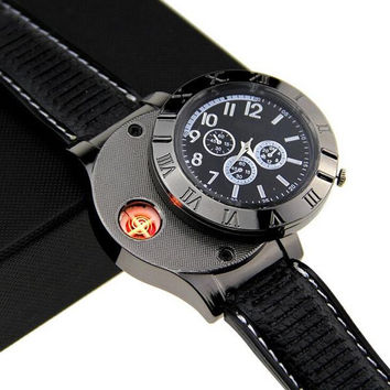 Military USB Lighter Watch Men's Casual Quartz Wristwatches With Windproof Flameless Cigarette Cigar Lighter Black Silver Color
