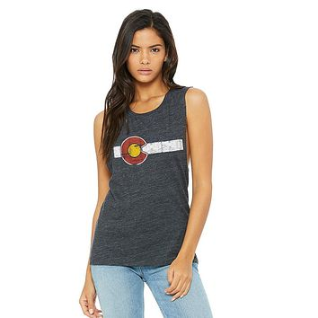 Classic Colorado Flag Ladies Flowy Muscle Tank Grey Traditional