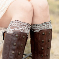 Black Lace Boot Cuff Topper White Women Faux Leg Warmers Knee High Socks Accessory Shoe
