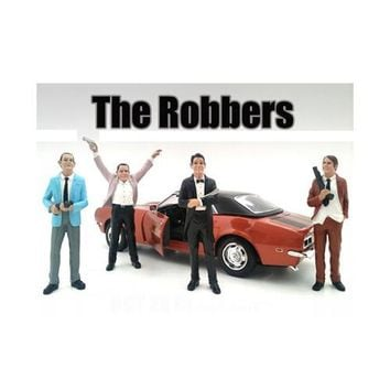 """""""The Robbers"""" 4 Piece Figure Set For 1:18 Scale Models by American Diorama"""