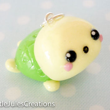 Kawaii green turtle polymer clay charm by LittleJulesCreations