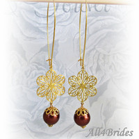Filigree Dangle Earrings - Gold Filled and Pearls -  Custom Glass Pearl Earrings - Gifts For Her