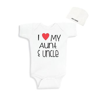 Culbutomind I Love My Aunt Uncle Print Baby One-piece Summer Newborn Bodysuit Cotton Unisex Funny Outfit and  Custom Beanie