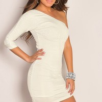 One Shoulder Half Sleeve Sequin Detail White Mini Club Dress