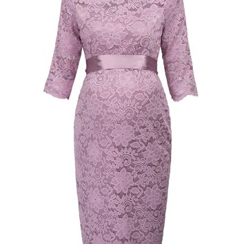 GK vogue elegant dress Maternity Pregnant Women clothes Half Sleeve Crew Neck Hips wrap flower Lace Dress solid sash dresses