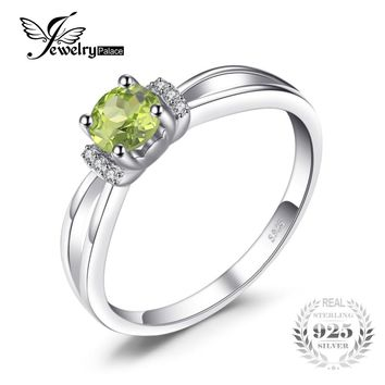 JewelryPalace Birthstone 0.6ct Round Natural Peridot Wedding Engagement Anniversary Ring For Woman Genuine 925 Sterling Silver