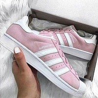 """Adidas"" Fashion Trending Casual Women Men Running Sport Flats Shoes Sneakers Pink"