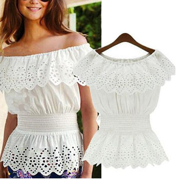Summer Hollow Out Ventilation Lace Shirt Strapless Blouse Top +Necklace