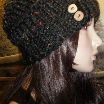 Slouchy Beanie Hat Winter Hand Knit Black Multicolor Tweed Woodsy Ribbed With Wood Buttons