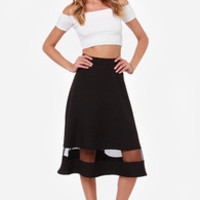 Asphalt Runway Black Midi Skirt