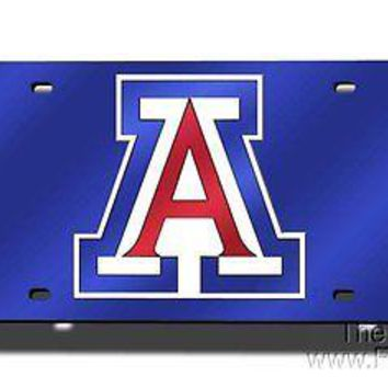 Arizona Wildcats BLUE Deluxe Laser Cut Mirrored License Plate Tag University of