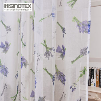 iSINOTEX Window Curtain Lavender Printed Pattern Transparent Sheer Linen&Cotton Fabric For Home Living Room Screening 1PCS/Lot