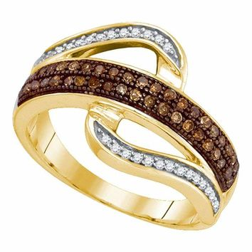 10kt Yellow Gold Women's Round Brown Color Enhanced Diamond Curved Band Ring 1-3 Cttw - FREE Shipping (US/CAN)