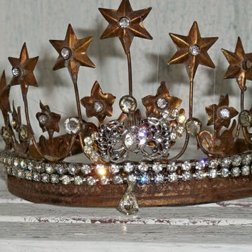 Brass crown French Santos inspired rhinestone embellished rusty aged home decor Anita Spero