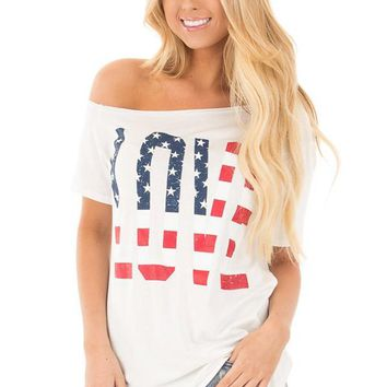 LOVE - American Flag Letters Short Sleeve Off Shoulder T-shirt