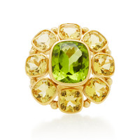 18K Yellow Gold Peridot and Golden Beryl Ring | Moda Operandi