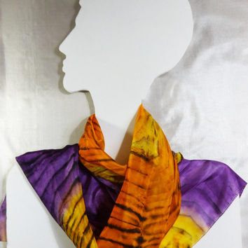 "Long Silk scarf ""Teleportation"". Hand painted shawl. Multicolor yellow, orange, violet, black tiger pattern. Ready. Size 148x45 cm, 58x18"""