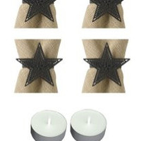 Park Design 22-659 Black Star Napkin Rings Set of 6 with 6-Pack of Tea Candles