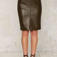 Nastia Vegan Leather Midi Skirt