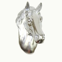 The Allouette - Tilted Chrome Resin Horse Head Mounted- Faux Head Wall Mount - White Faux Taxidermy - Faux Horse Head - Equine Art