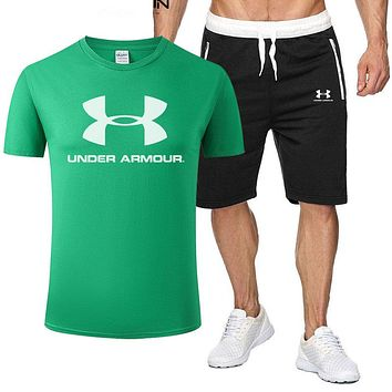 Under Armour Fashion New Letter Print Sports Leisure Top And Shorts Two Piece Suit Men Green