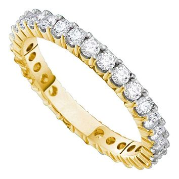 14k White Gold Women's Round Diamond Pave Wedding Anniversary Band 2.00 Cttw - FREE Shipping (US/CAN)