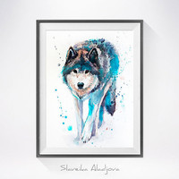 Wolf 4 watercolor painting print , Wolf art, dog art, Animal watercolor, Wolf Painting, Wolf Illustration, Animal art, print art
