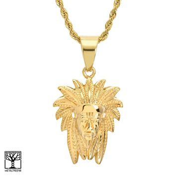 "Jewelry Kay style Gold Plated Stainless Steel Cacique Indian Pendant 24"" Chain Necklace SCP 862 G"