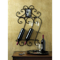 Wrought Iron Scrollwork Wine Bottle And Glass Wall Mount Display Rack