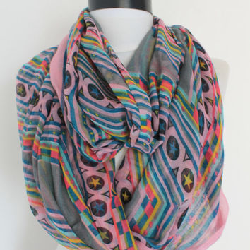 star grey scarf,infinity scarf, scarf, scarves, long scarf, loop scarf, gift