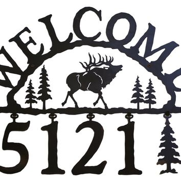 Elk Handcrafted Metal Welcome Address Sign - Rustic Lodge Series