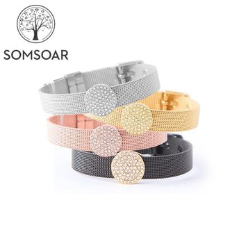 Drop Somsoar Jewelry Mesh Charm Bracelet Set with Deluxe Slide Charms and Stainless Steel Bracelet & Bangles as Gift