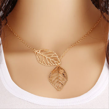 Vintage Double Leaves Pendant Necklace Gold Silver Clavicle Chain Hollow Leaf Charm Statement Choker Women Jewelry Accessories