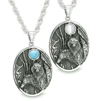 Mother and Son Wolf Family Set Amulet Wild Woods Moon White Cats Eye Turquoise Pendant Necklaces
