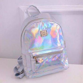 2017 New Hologram Laser Backpack Girl School Bag Shoulder Women Rainbow Colorful Metallic Silver Laser Holographic Backpack